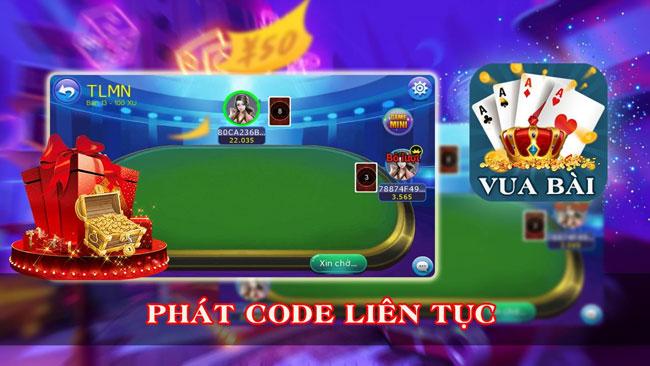Hệ thống tặng code đến người chơi hấp dẫn VuaBai88